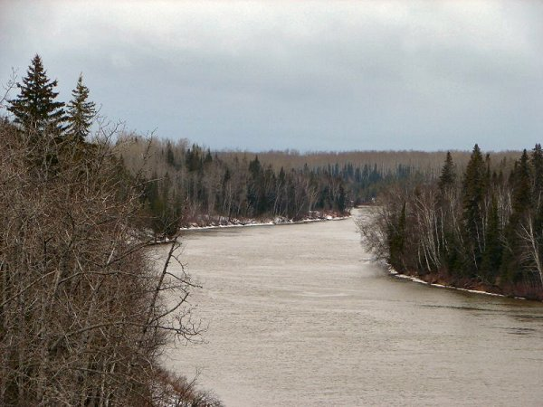 The Abitibi River at Iroquois Falls in northeastern Ontario. Photo by P199 on Wikimedia Commons. Used under a Creative Commons License (Attribution Share-Alike 3.0 Unported).